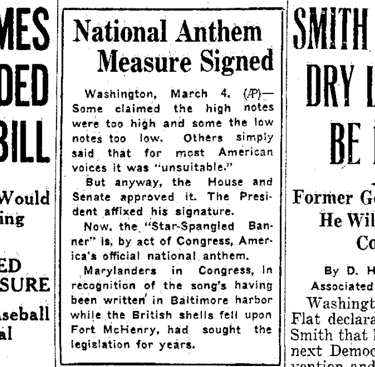 """How important was """"The Star-Spangled Banner"""" when it became the ..."""