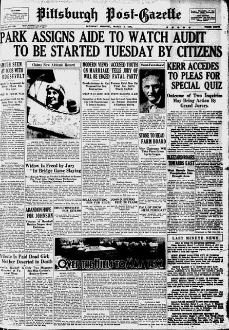Pittsburgh Post-Gazette Saturday March 7 1931 page 1