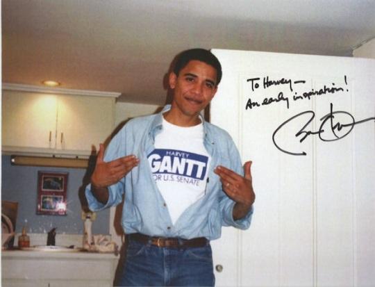 A younger Barack Obama supporting Harvey Gantt in U.S. Senate race