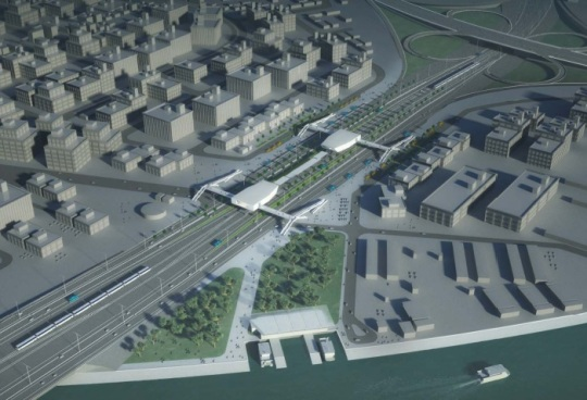 Lagos Light Rail Station design in freeway