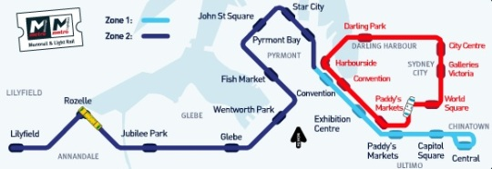 Sydney Metro Light Rail existing map
