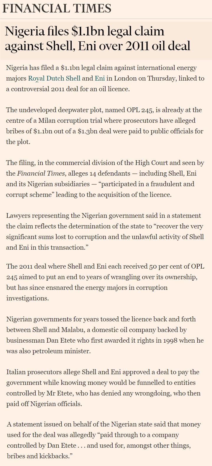 Nigeria file 1 1 billion dollar legal clam against Shell and