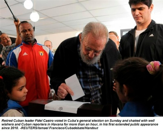 Former Cuban leader Castro casts his ballot at a polling station in Havana