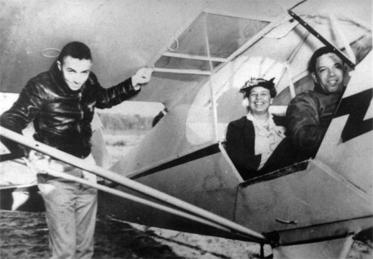 First Lady Eleanor Roosevelt insisted on flying with a black pilot in Tuskegee