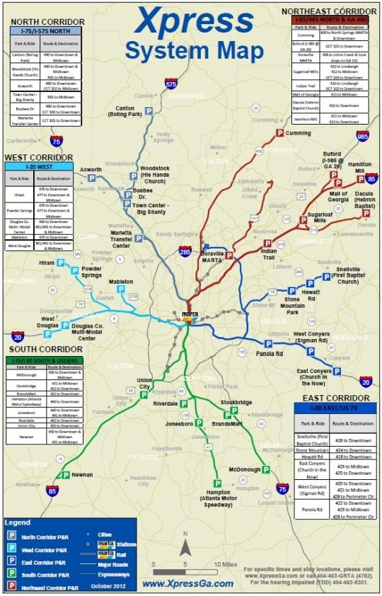 GRTA metro commuter bus map