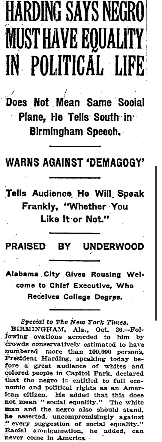 Harding Birmingham -The New York Times 1921