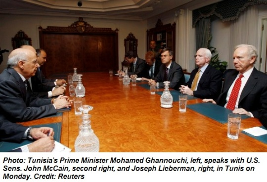 John McCain and Joseph Lieberman met with Tunisia's Prime Minister Mohamed Ghannouchi