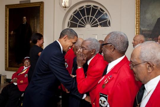 President Barack Obama greet Tuskeegee Airmen Jan 2012