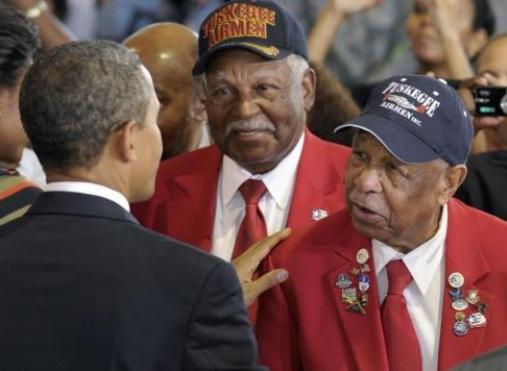 President Barack Obama greet Tuskeegee Airmen Jan 2012a