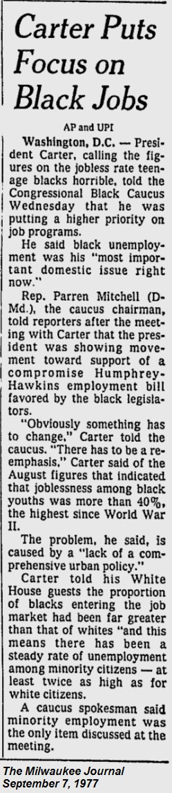 President Carter Focus on Black Jobs -The Milwaukee Journal - Sep 7, 1977