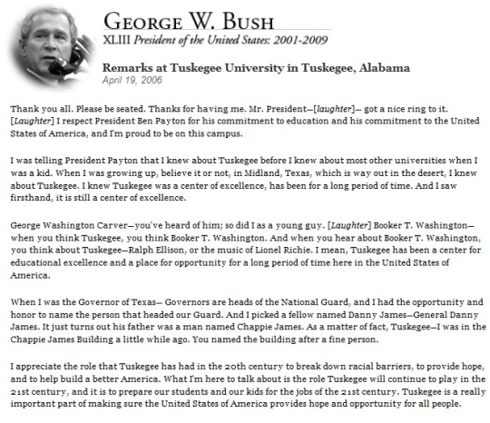 President George W. Bush visits Tuskegee University April 19, 2006