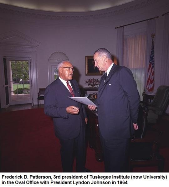 President Johnson with Tuskegee Institute (University) President 1964