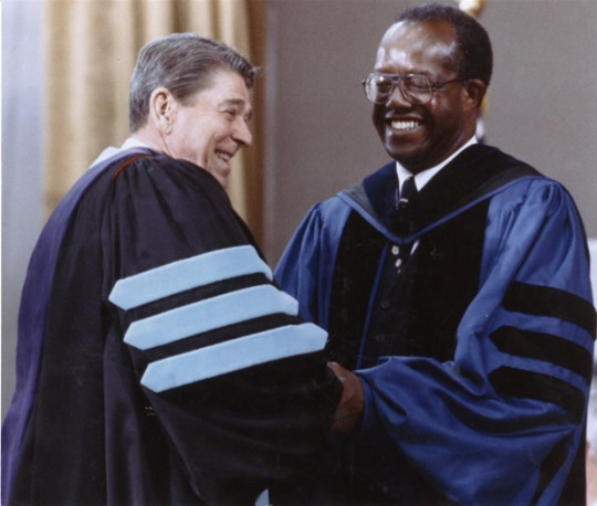 President Ronald Reagan commencement address at Tuskegee University with 5th president of Tuskegee Dr. Benjamin F. Payton