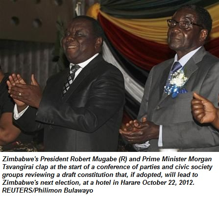 Robert Mugabe (R) and Prime Minister Morgan Tsvangirai