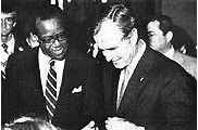Vice President George H. W. Bush with 5th Tuskegee president Dr. Benjamin F. Payton April 12, 1981