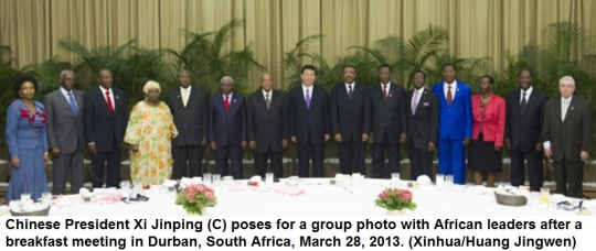 Chinese President Xi Jinping with African leaders in Durban, South Africa 5th BRICS Summit