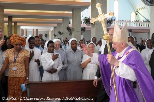 Pope Benedict XVI arrives for a mass for the local bishops and priests at Sao Paolo Church in Luanda, Angola, 21 March 2009