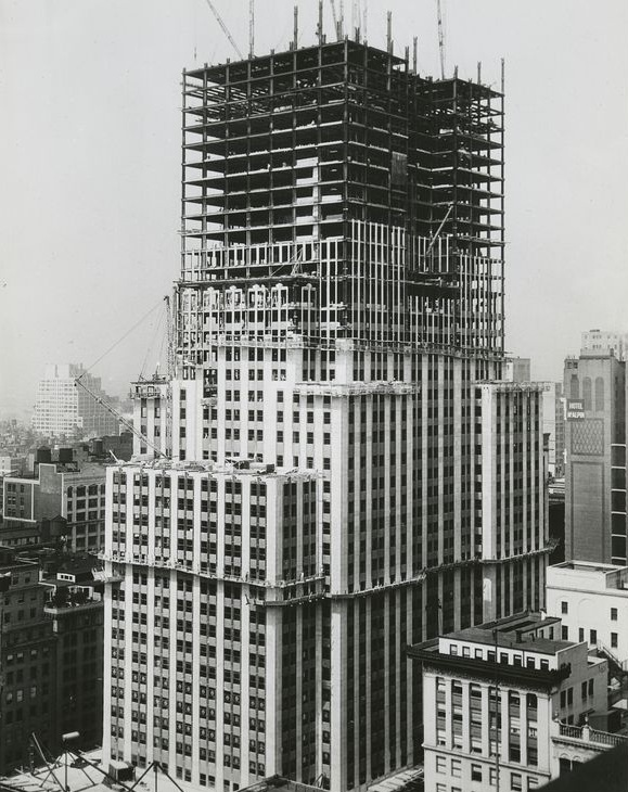 Empire State Building construction in progress