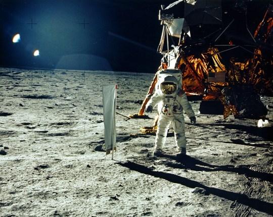 Aldrin beside solar wind experiment