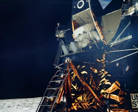 Aldrin exits the Lunar Module