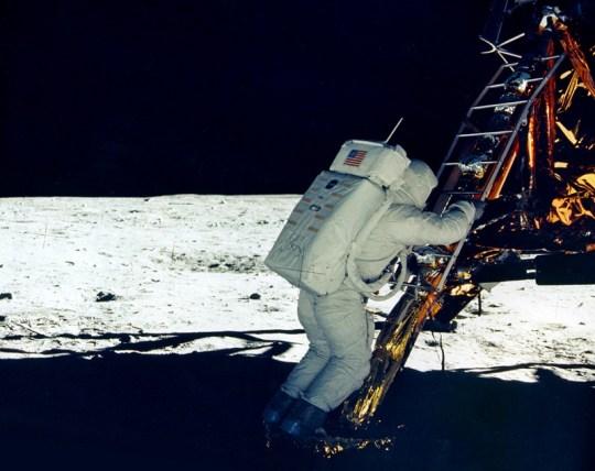 Aldrin on the Lunar Module footpad