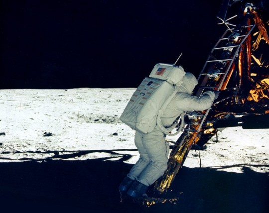 Aldrin on the Lunar Module footpad