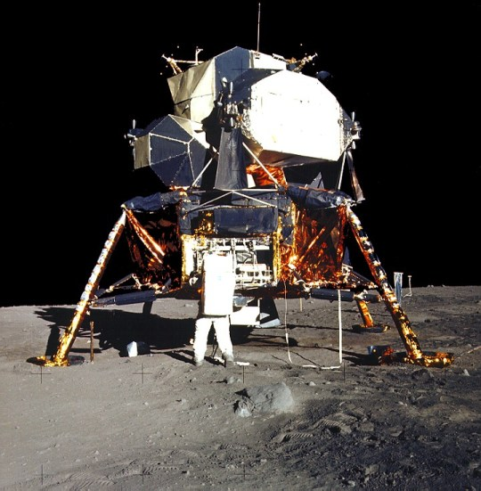 Aldrin unpacks experiments from Lunar Module