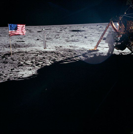 Neil Armstrong works at the Lunar Module