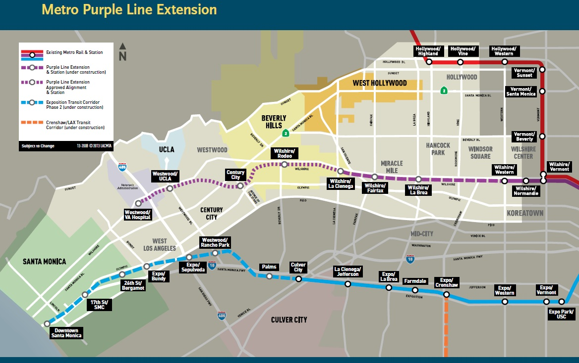 Los Angeles Subway Expansion About The Purple Line Dilemma X - Los angeles metro expansion map