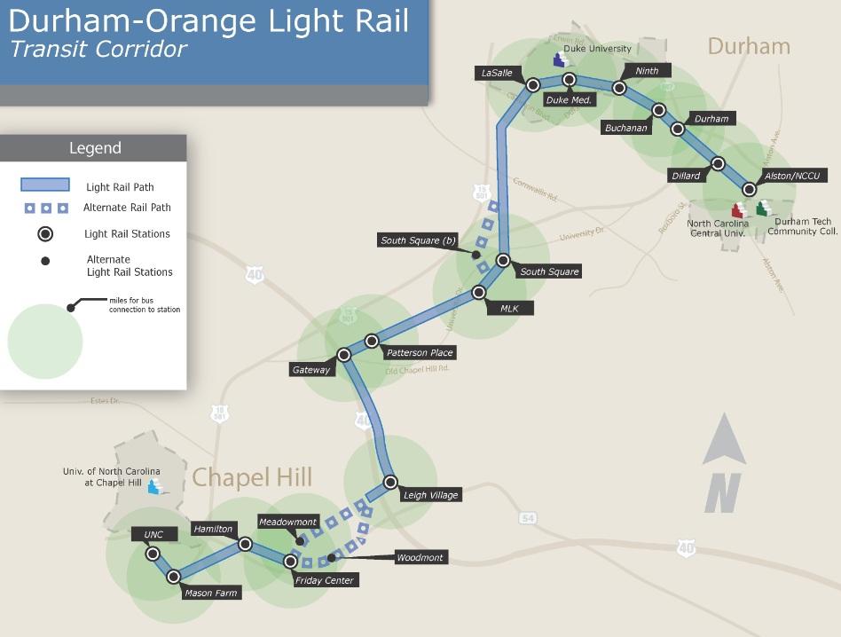 RaleighDurham Light Rail rapid transitDurham to Chapel Hill