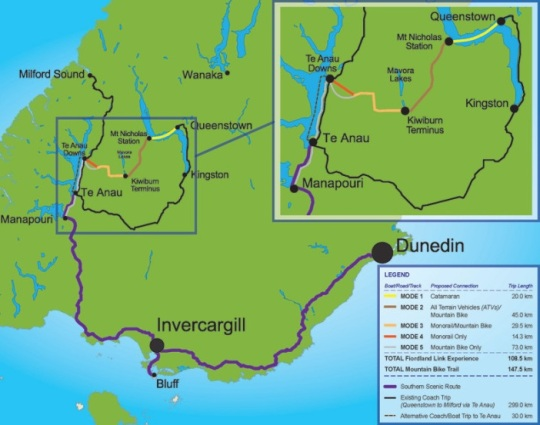 Fiordland Monorail map