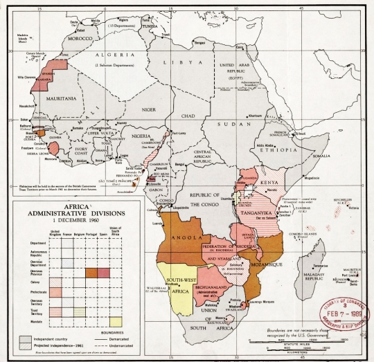 Africa administrative divisions December 1960