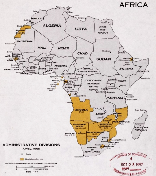 Africa administrative divisions December 1965