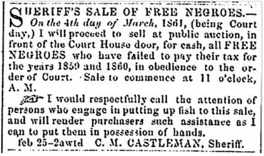 Ad in the Alexandria Gazette 1861