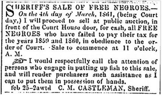 Ad in the Alexandria Gazette 1861