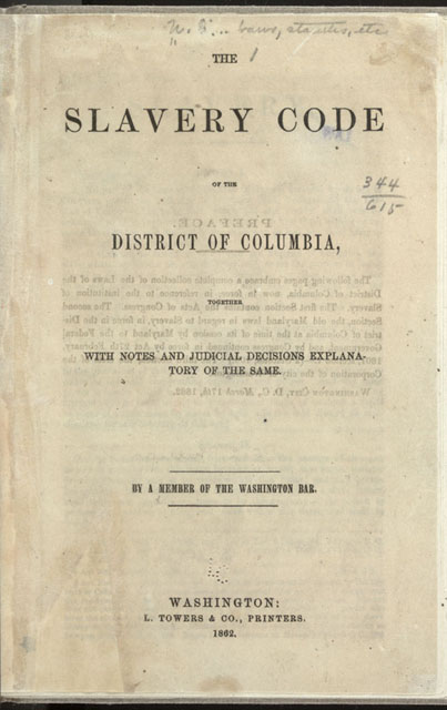 District of Columbia Slavery Code