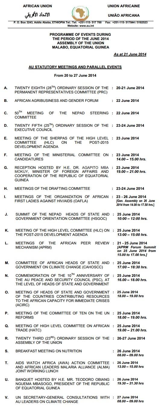 AU 23rd Summit Agenda