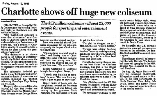 Charlotte Coliseum 1988