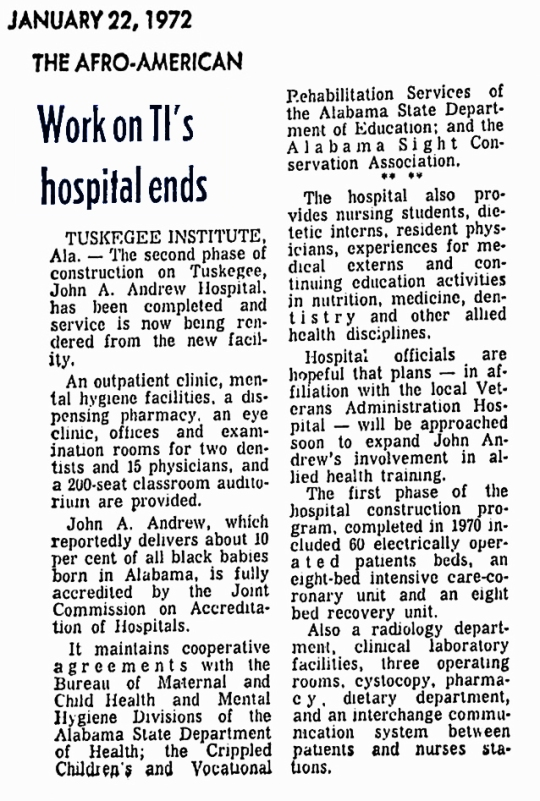 1972 Tuskegee Hospital expansion