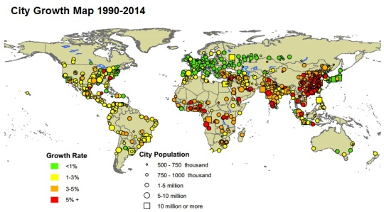City Growth Map 1990-2014