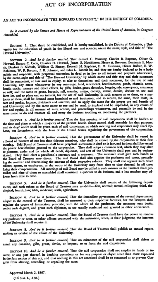 Howard University Articles of Incorporation 1867
