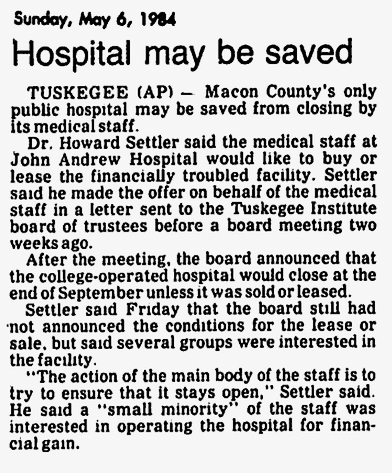 John A. Andrew Hospital 1984