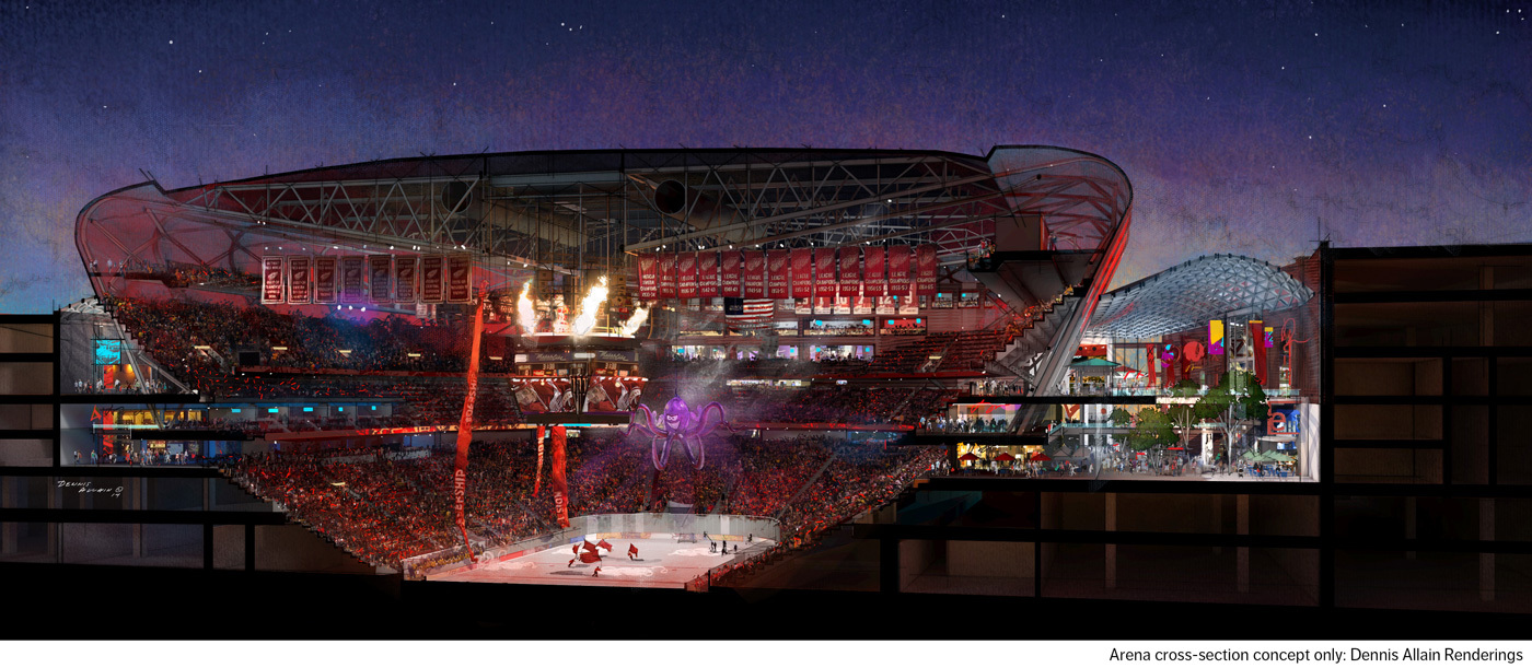 Nhl detroit red wings reveal plans renderings for its for Architectural concepts michigan