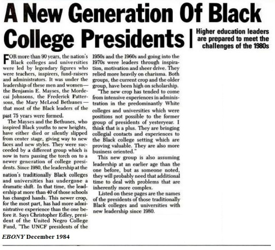 New Generation of Black College Presidents 1984-EBONY