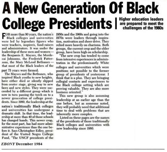 New Generation of Black College Presidents 1984-EBONY