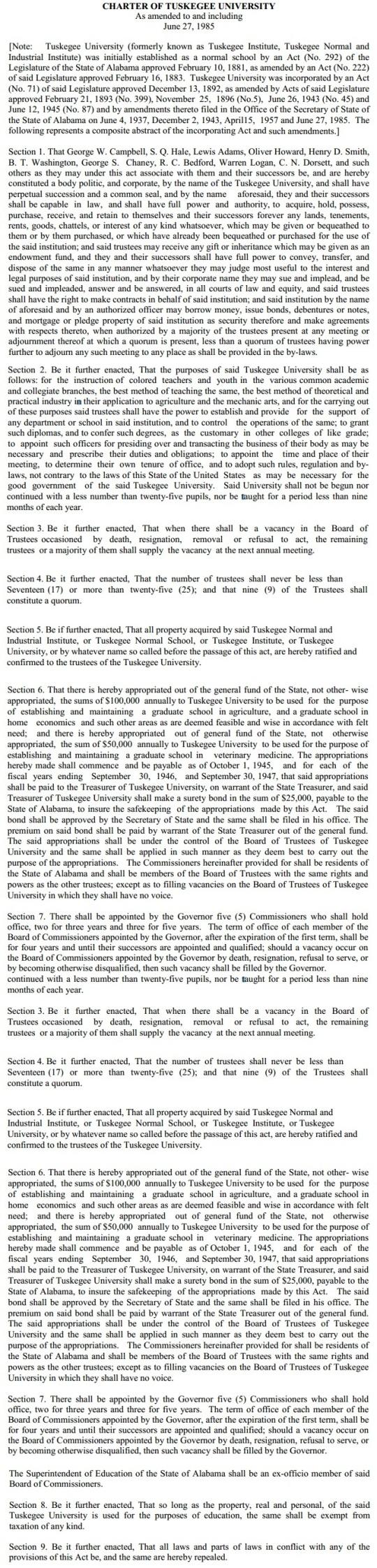 Tuskegee Charter 1985