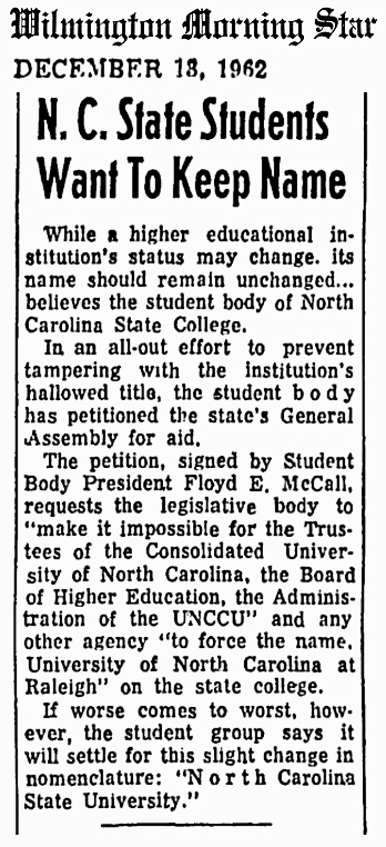 1962 Dec 18 NC State University