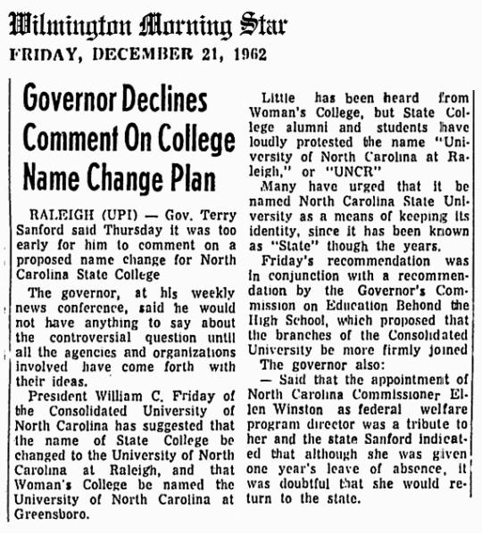 1962 Dec 21 NC State University