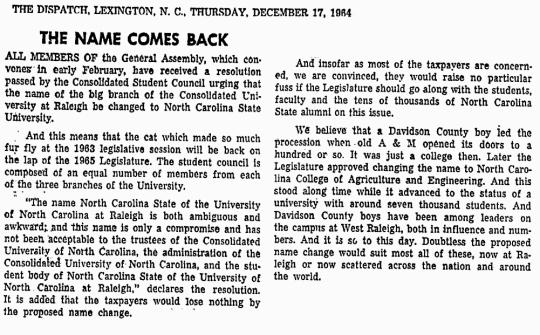 1964 Dec 17 NC State University