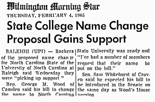 1965 Feb 4 NC State University